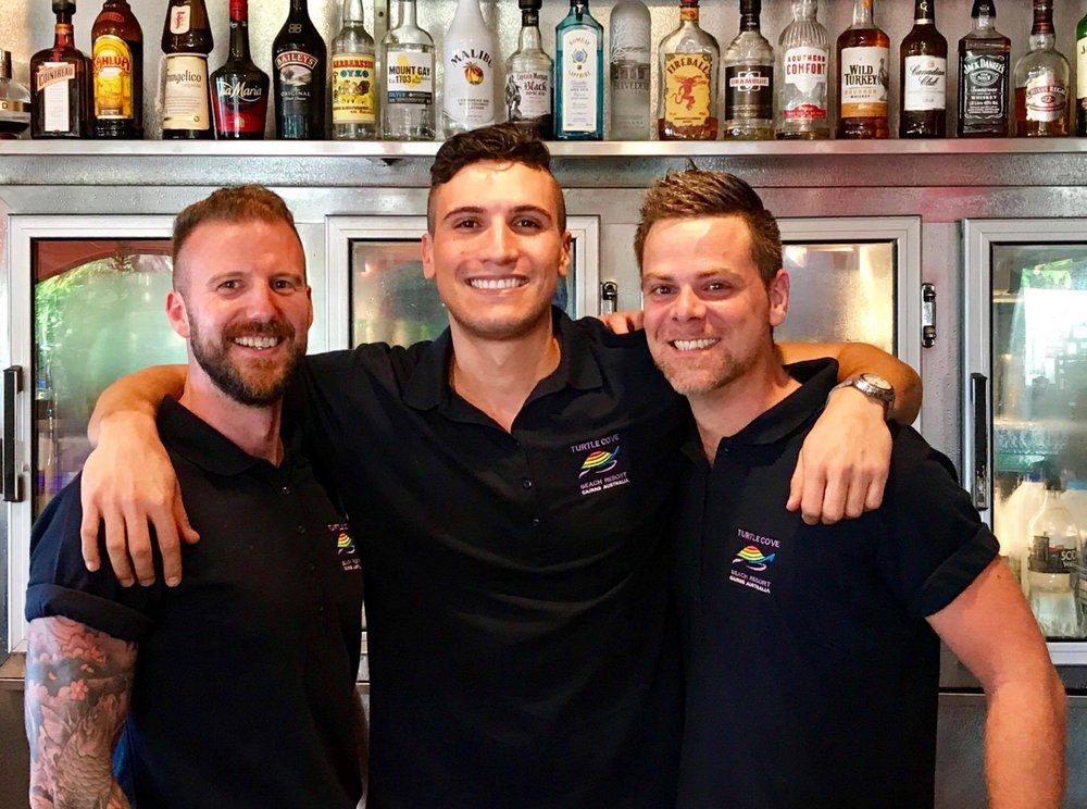 Turtle Cove Resort bar team members, Mark, Nico & Dave