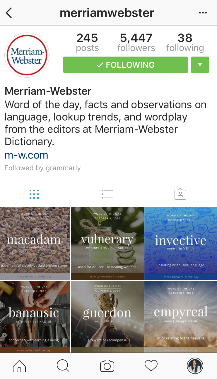instagram account for merriam webster
