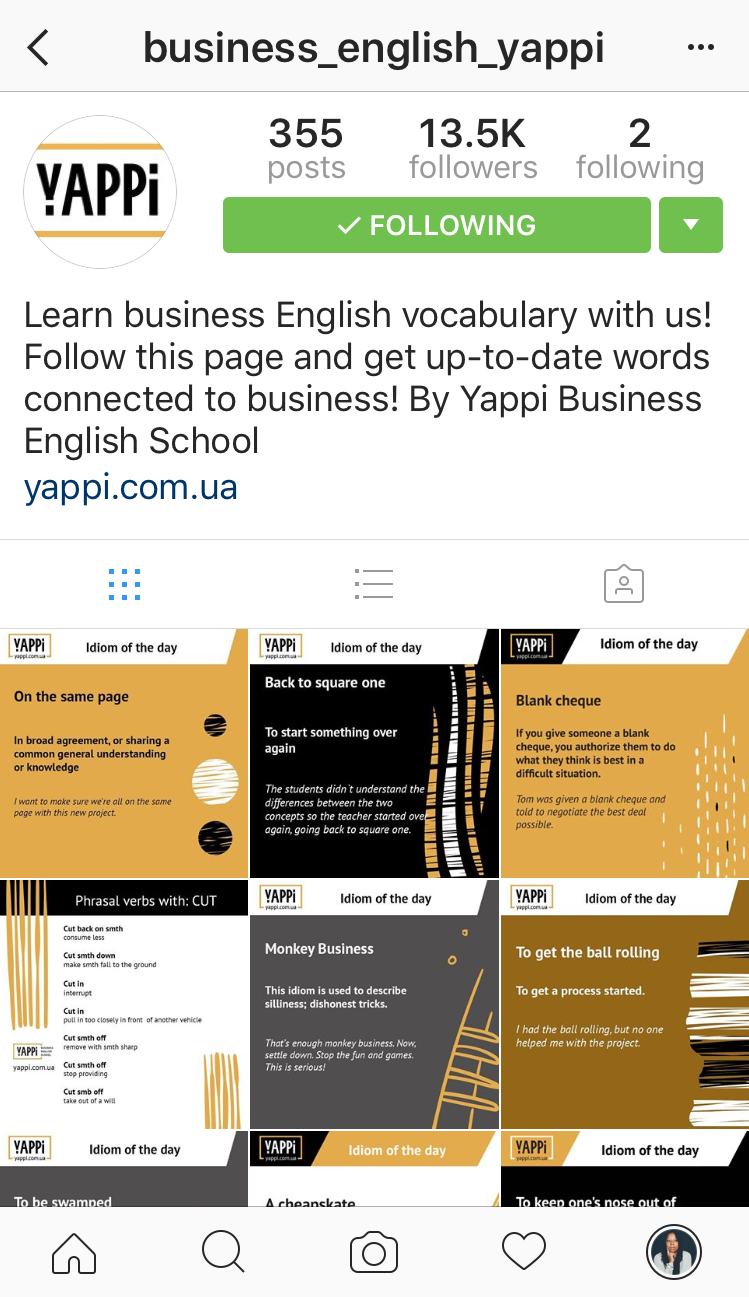 instagram account of business_english_yappi