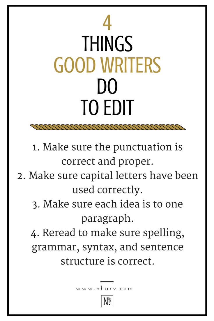 Here are 4 things that good writers do to edit and make sure their work is professional looking. I hope you take these tips into consideration because they were created from mistakes and lessons that I've learned along the way. Read the full blog post...