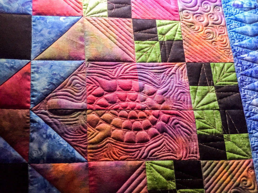 One of eight tortugas drafted by Gail that were stitched into the quilt.