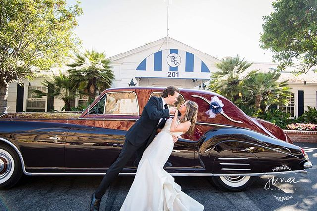 Kristi + Ron + cool car = way too much fun. Congrats you two! #weddingphotography #classiccars #santamonica
