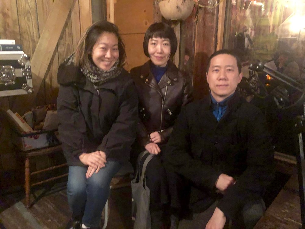 Lynda, Yiming, and Xian in the studio
