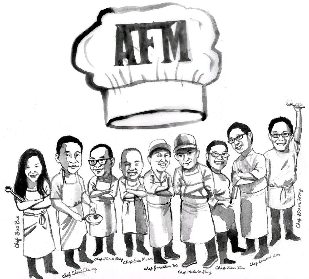 Asian Food Mafia cartoon sketch