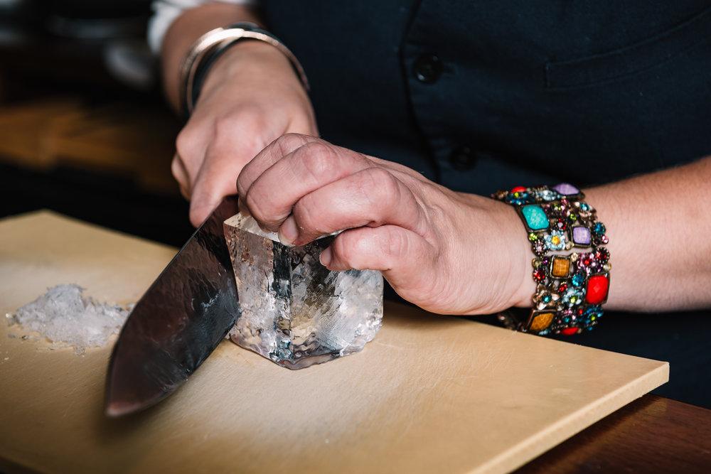 Ice carving at Bar Moga