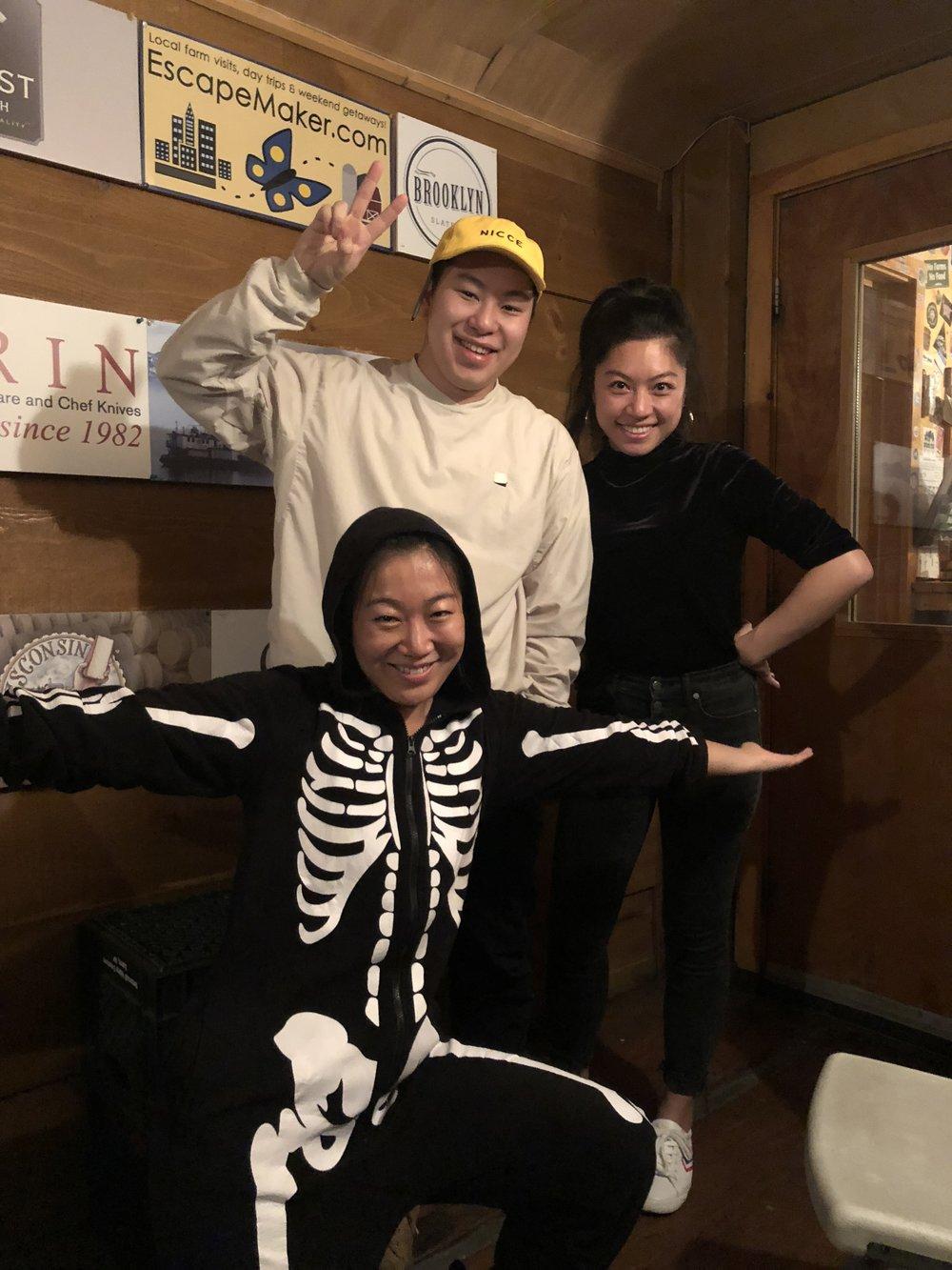 Halloween in the studio: Lucas Sin, Amelie Kang, Lynda Liu