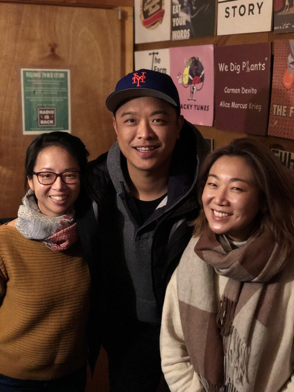 In the studio: Elaine Chen, Wilson Tang, Lynda Liu