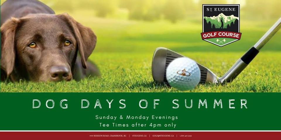 MONDAY, August 27th - Dog Days of Summer | 'We Double Dog Dare You' - Bringing your best friend to the course is the most fun you'll ever have!Sunday & Monday Evenings - Tee Times after 4pm only! No charge for dogs. Regular green fee and cart pricing applies.* Hosted by St. Eugene Golf Resort & Casino