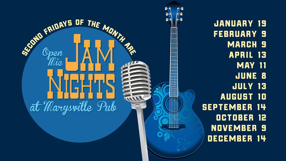 FRIDAY, November 9th - Open Mic Jam Night   Come out and play at the Marysville pub on the Second Friday of every month.* Hosted by Jason Toner