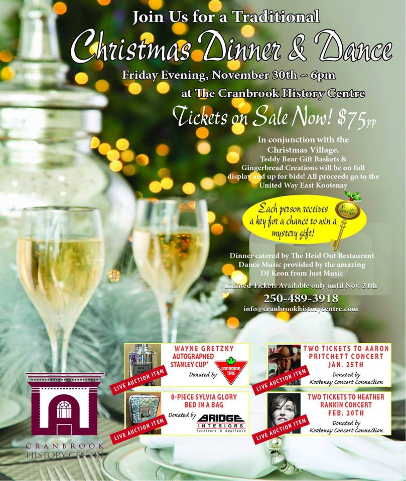 Friday, November 30th - Christmas Gala | A traditional Christmas dinner catered by The Heid Out and a Live and Silent Auction followed by a dance hosted by DJ Keon! Tickets available until November 24th.* Hosted by Cranbrook History Centre