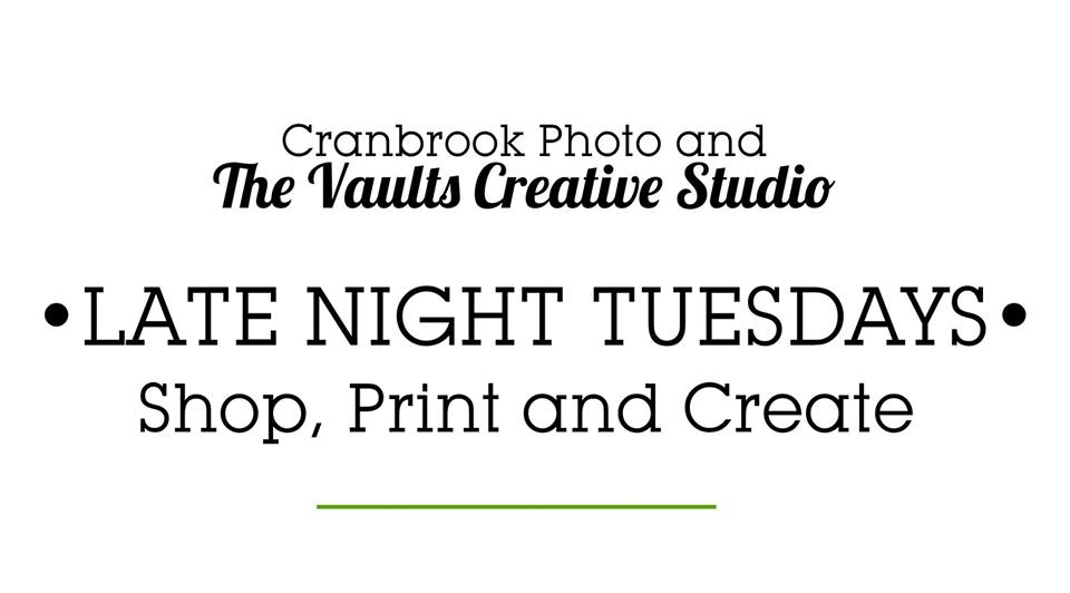 TUESDAY, DECEMBER 11th - Late Night Tuesdays | Printing, Shopping, Painting and More! Join us until 7pm every Tuesday in December until Christmas.Order prints at our in store Kiosk, pick out a frame from our custom framing department, Purchase art supplies, Camera accessories or gift cards and paint ceramics in our Creative Studio!* Hosted by Cranbrook Photo & Studio