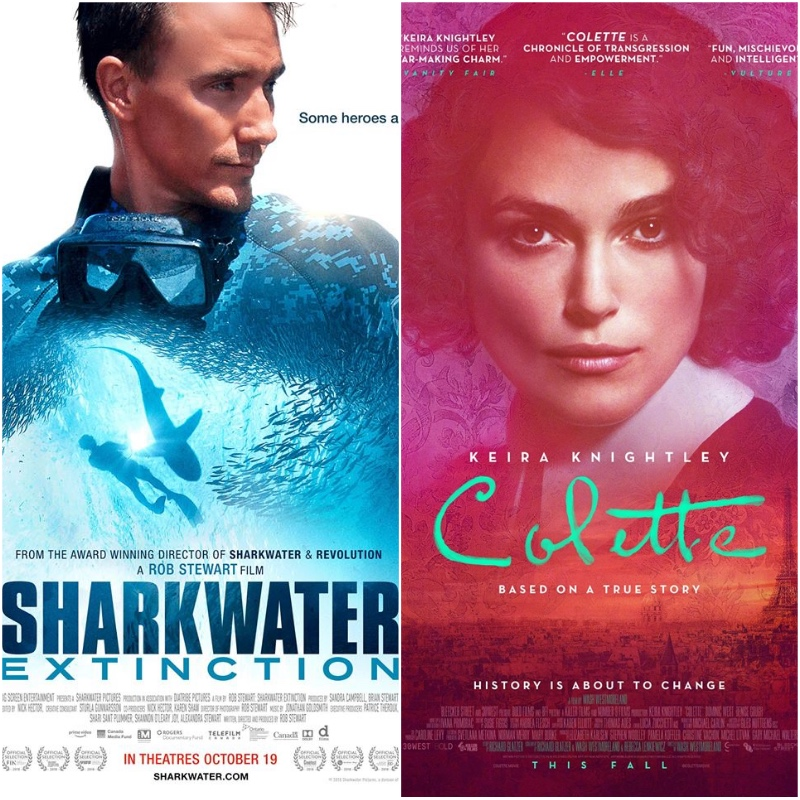 TUESDAY, FEBRuary 19th - Sharkwater Extinction (6:30pm - 8:30pm)   Filmmaker Rob Stewart travels across oceans to expose the illegal and violent underworld of shark finning.Colette (8:30pm - 10:30pm)   After moving to Paris, author Sidonie-Gabrielle Colette agrees to ghostwrite a semi-autobiographical novel for her husband. Its success soon inspires her to fight for creative ownership and overcome the societal constraints of the early 20th century.* Hosted by Rockies Film Festival and Key City Theatre