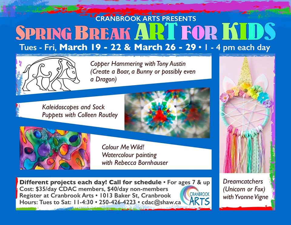 Friday, March 29th - Spring Break Art for Kids | The much asked for Spring Break Art Classes are here! March 29th Rebecca Bornhauser will be getting the kids to