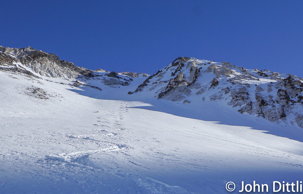 new powder atop previously avalanched slope