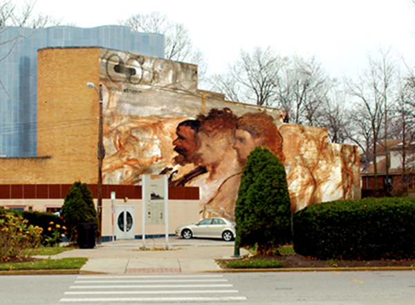 Oakley community selected image applied to theatre wall.