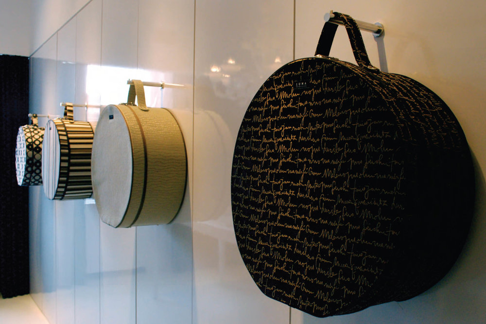 Designed and coordinated production of hat boxes for Luna Showroom at NEOCON 2009