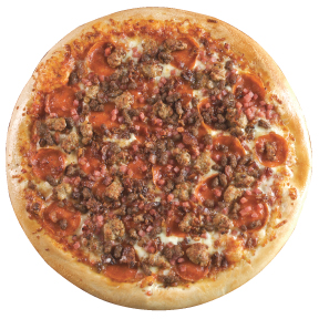 Mega Meat traditional sauce, pepperoni, italian sausage, ham, bacon, ground beef.