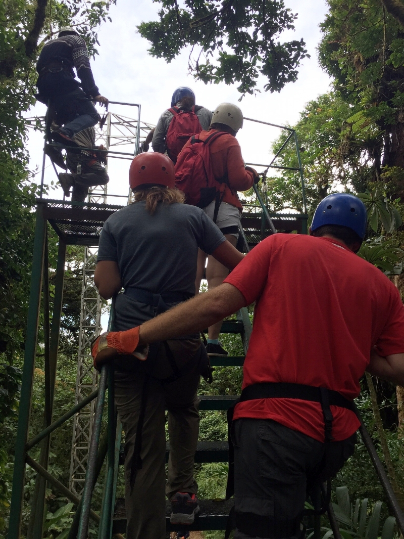 Ziplining with Selvatura Adventure Park, waiting in line for the Tarzan Swing