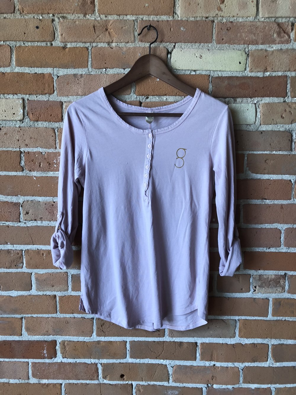 - Pink Grace Yoga Henley Shirt$25