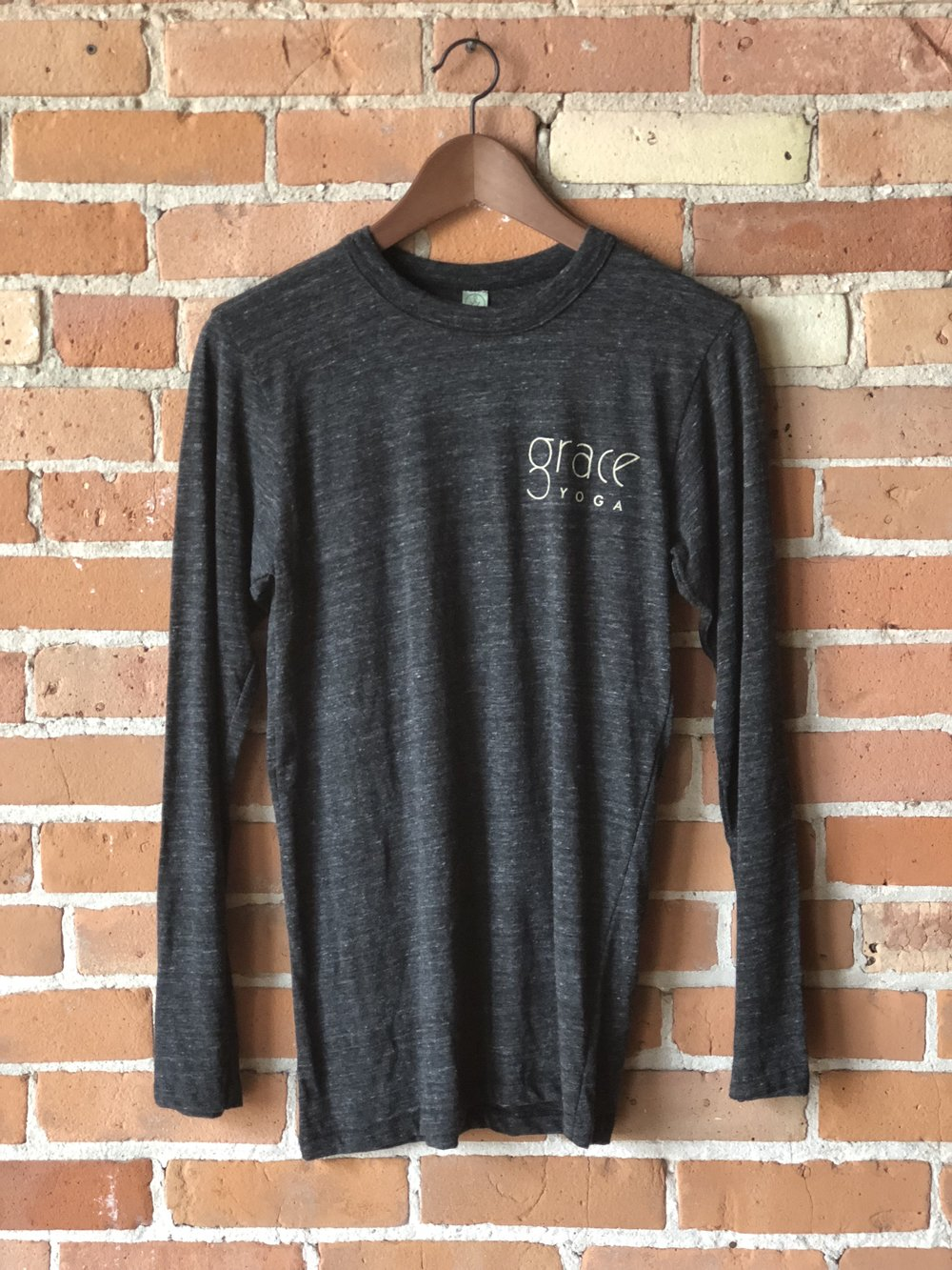 - Grace Yoga Unisex Long Sleeve Grey T-Shirt$35