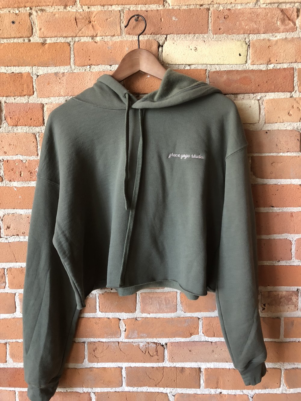 - Army Green Grace Yoga Studio Boxy Hoodie$48