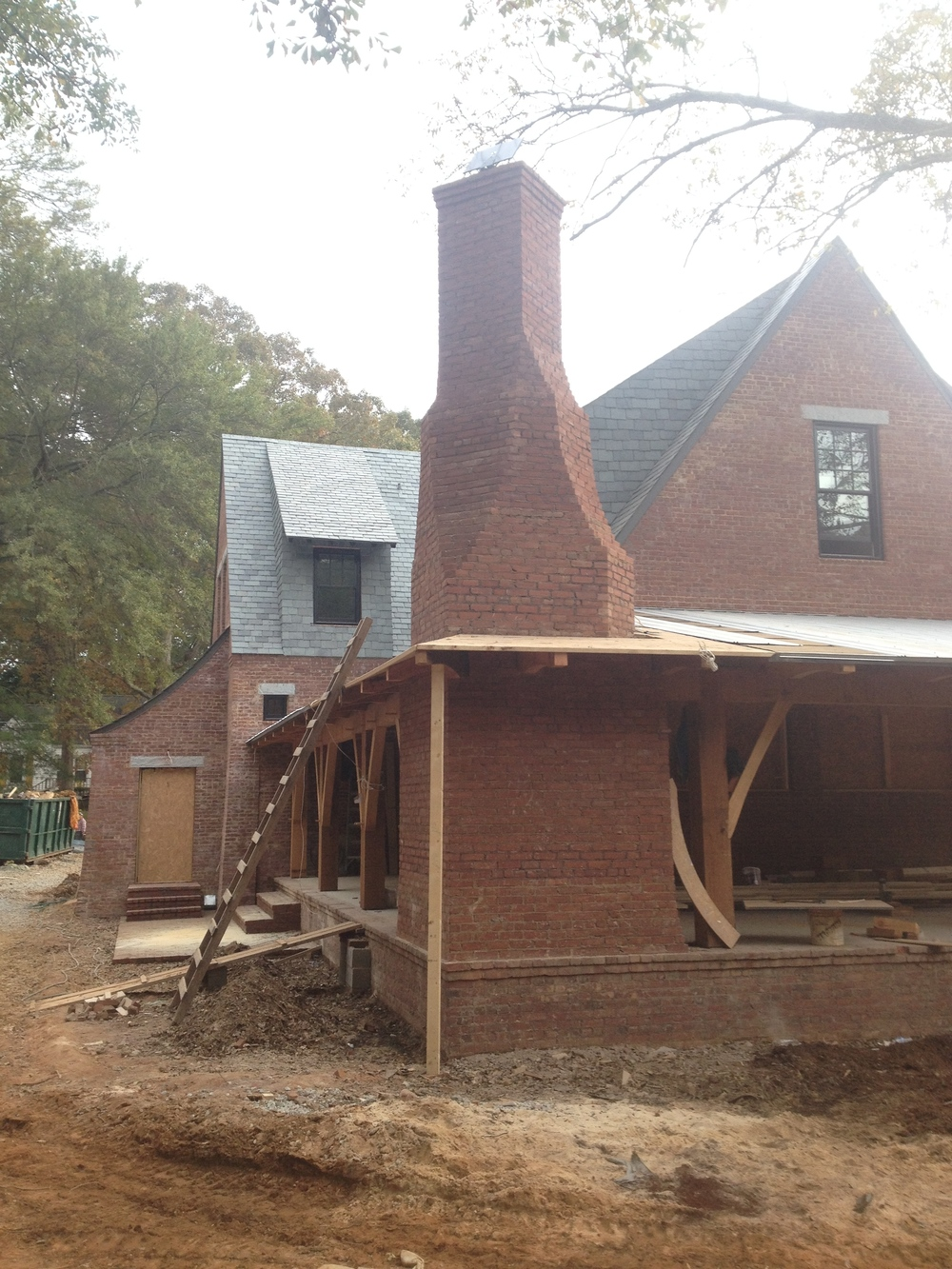 structural masonry, backside of outside fireplace
