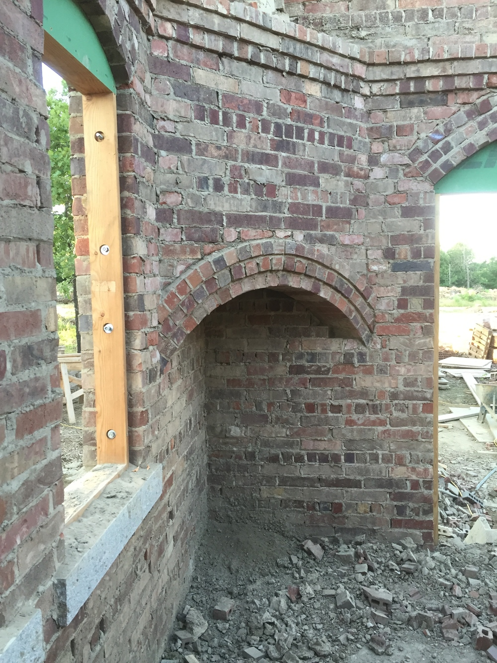 structural masonry, fireplace arch with massing filled out on top
