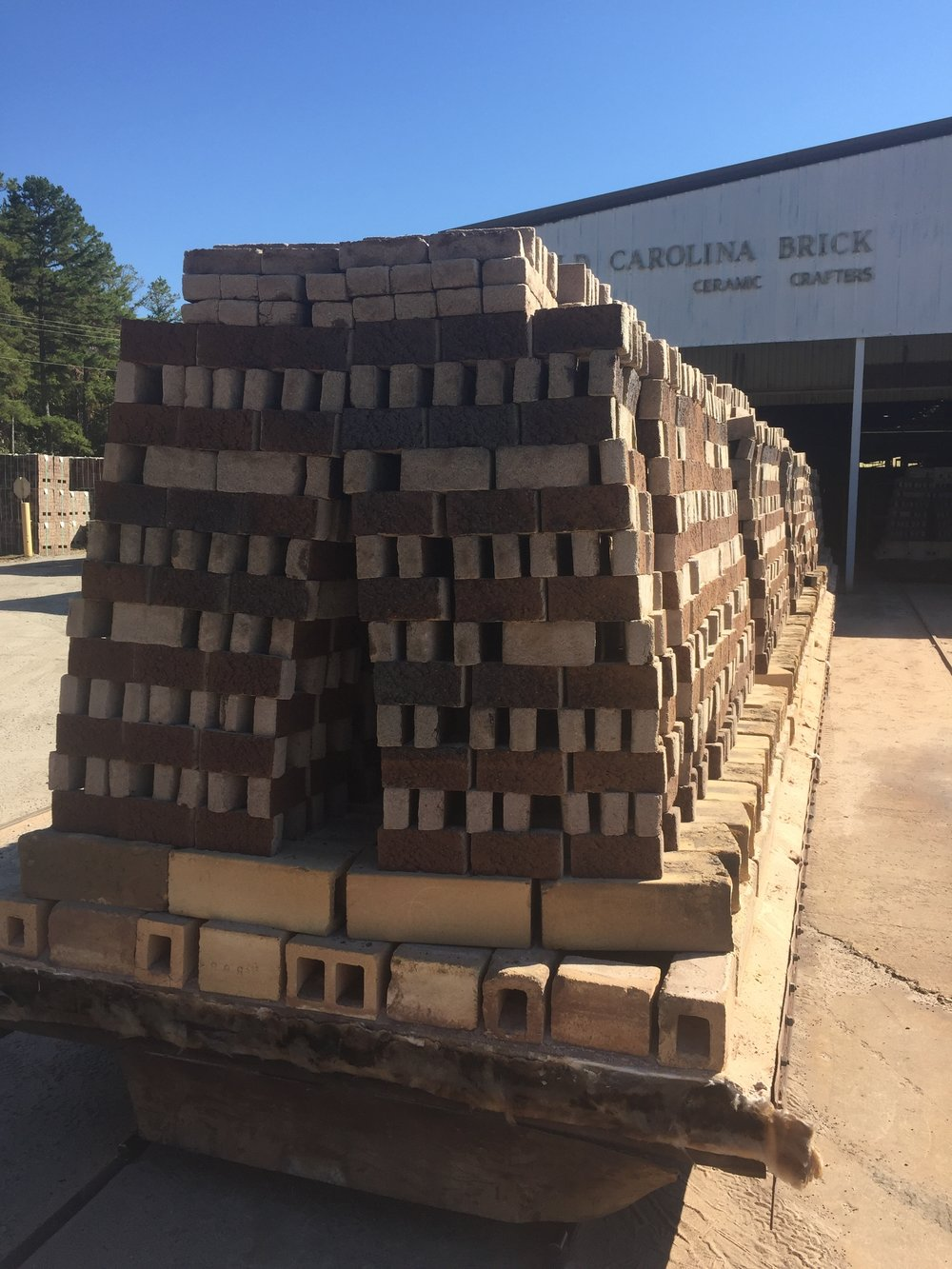 Trainload of brick fresh out of the kiln