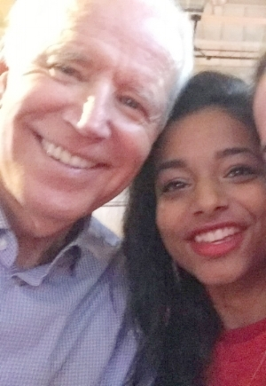 Pictured: Accomplished public speaker, respected diplomat, women's rights activist, overall inspiration to America and the world. Also Joe Biden.