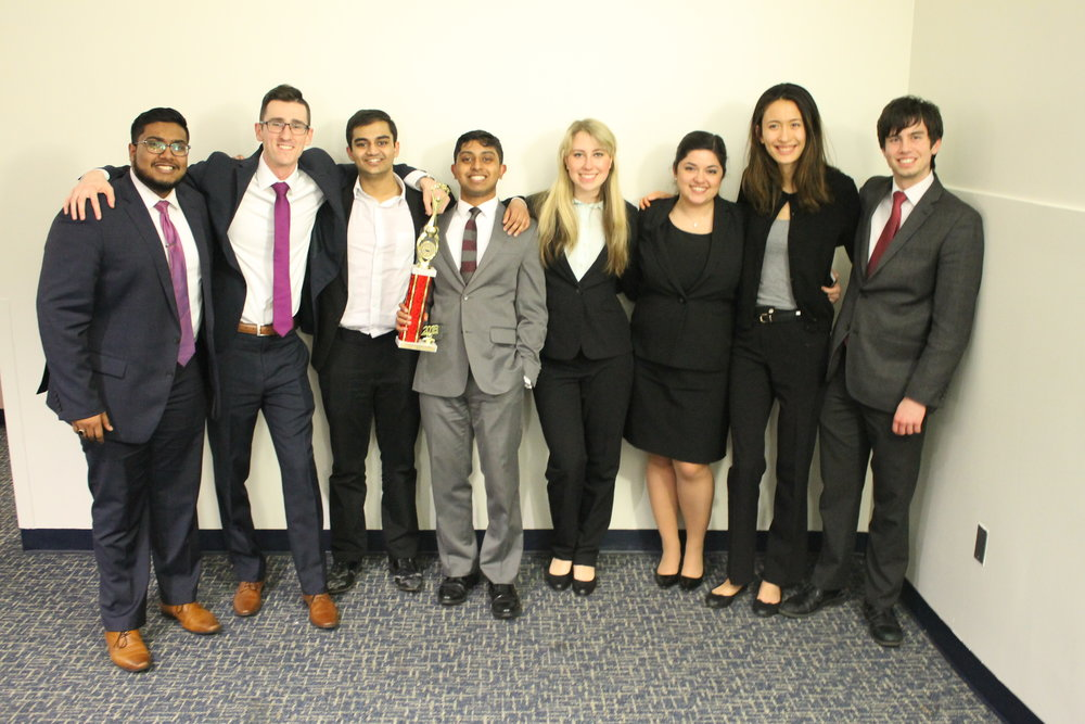 A-Team, left to right: Humayoon Hashmi, Mike Kleynman, Rohit Purma, Michael Nanchanatt (captain), Christine Botvinnik, Nicoletta Eby (president), Katie Dale, Robert Servilio