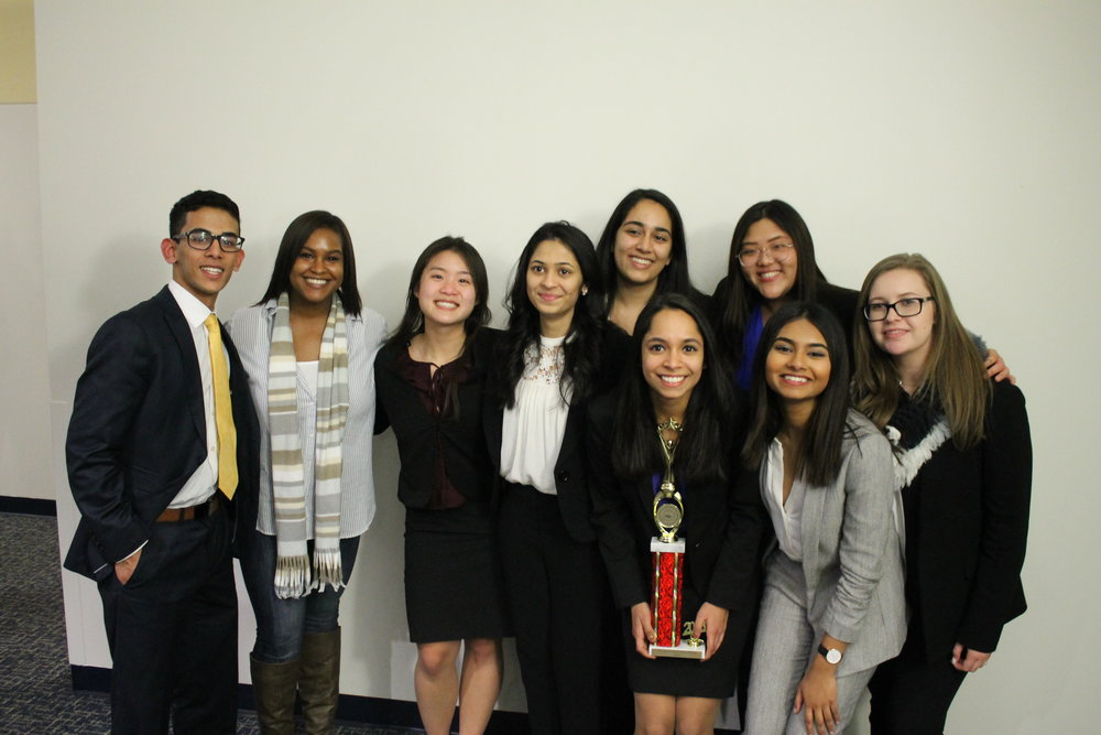 B-Team, left to right: Karan Malhotra, Zaniah Maynor (coach), Zoe Chang, Shivangi Patel, Aabha Joshi, Anu Chugh (captain), Hasin Tasneem, Lucy Huang, Michelle Fishman