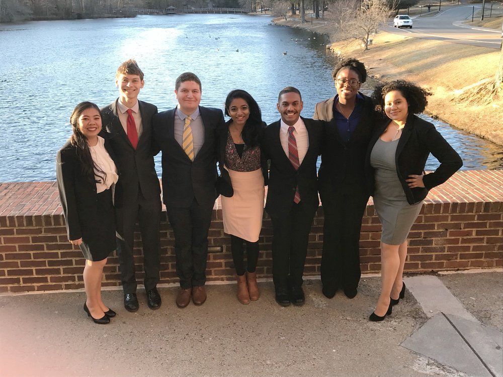 C-Team, left to right: Christine Tran, Michael Luckhowec, Zachary Newman, Aasha Shaik (captain), Ryan Ruffin, Ajoke Adetula, Veronica Bido
