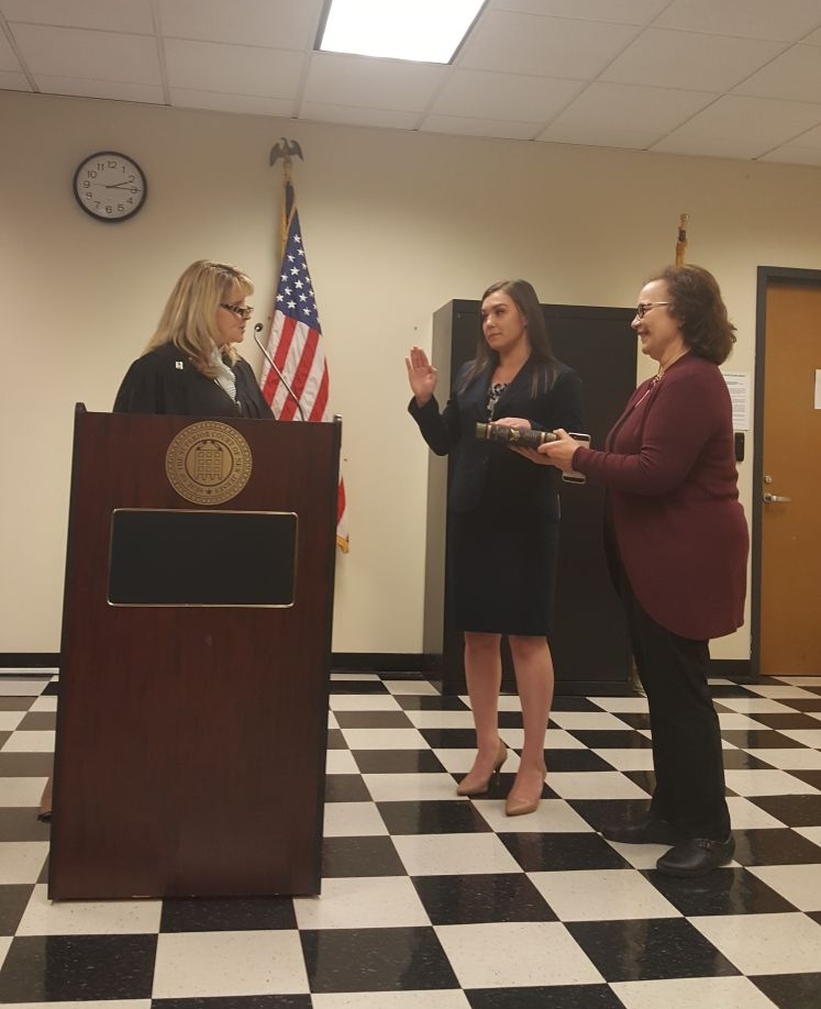Rachel Holt (Class of 2013) - Congratulations to RUMTA alumna Rachel Holt (Class of 2013), who was sworn-in as an attorney on December 8, 2017 by the Honorable Colleen Flynn, J.S.C. of the Middlesex County Superior Court. Pictured from left to right: Honorable Colleen Flynn, J.S.C., Rachel Holt, Gae Holt.