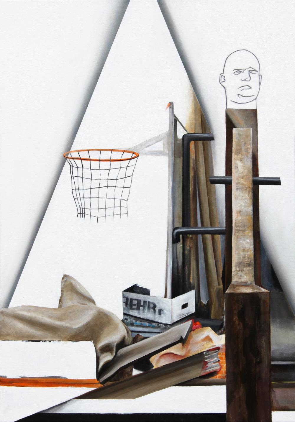"St. Sebastian (from Attila Richard Lukacs studio visit) 2014, 38"" x 26"" Oil on canvas"