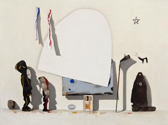 """Jesus :A Short Story. (from Gregor Hiltner studio visit) 2012, oil on canvas 36"""" x 44"""""""