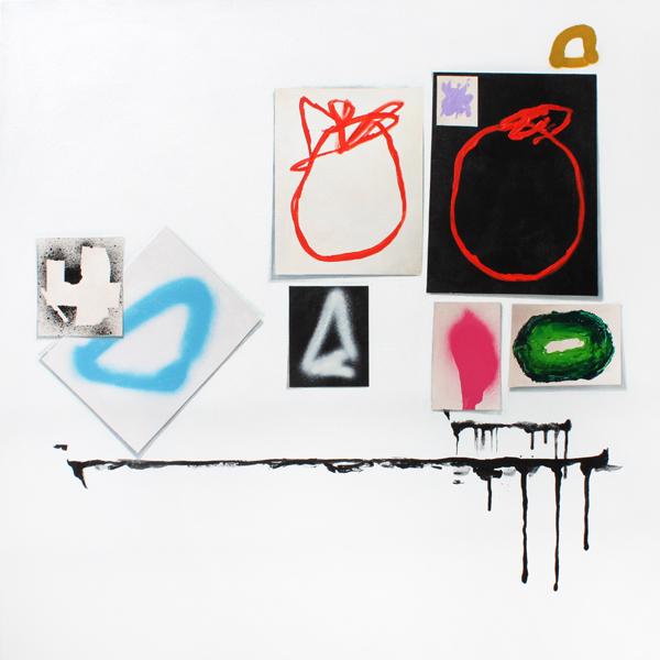 """GABBY JACKSON,  Acrylic and spray paint on canvas.  36"""" x 36"""", 2011"""
