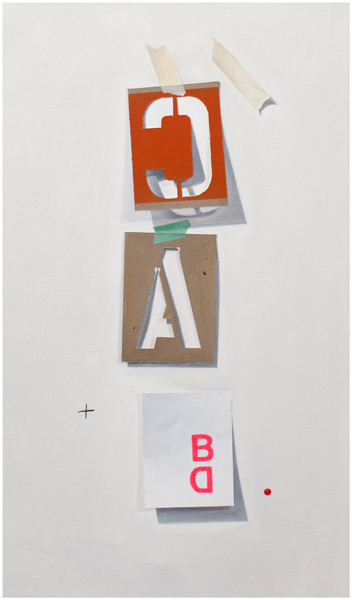 "CA + BD, 2012, oil on canvas, 24"" x 14"""