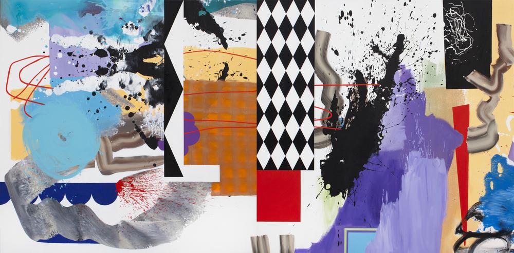 "Xenharmonic,2014. Acrylic on canvas,60"" x 120"" on 2 panels"