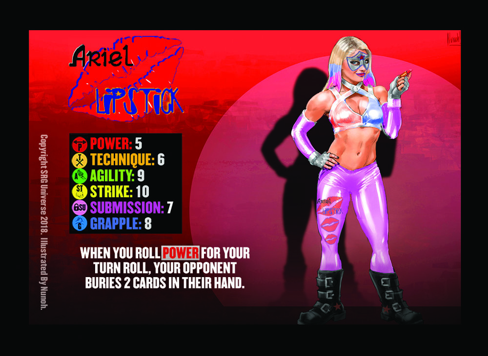 """00-Ariel Lipstick. There are play-test versions that were printed on error where the Gimmick reads, """"when you roll POWER for your Turn or Finish Roll, your opponent buries 2 cards in their hand"""". Above is the true wording."""