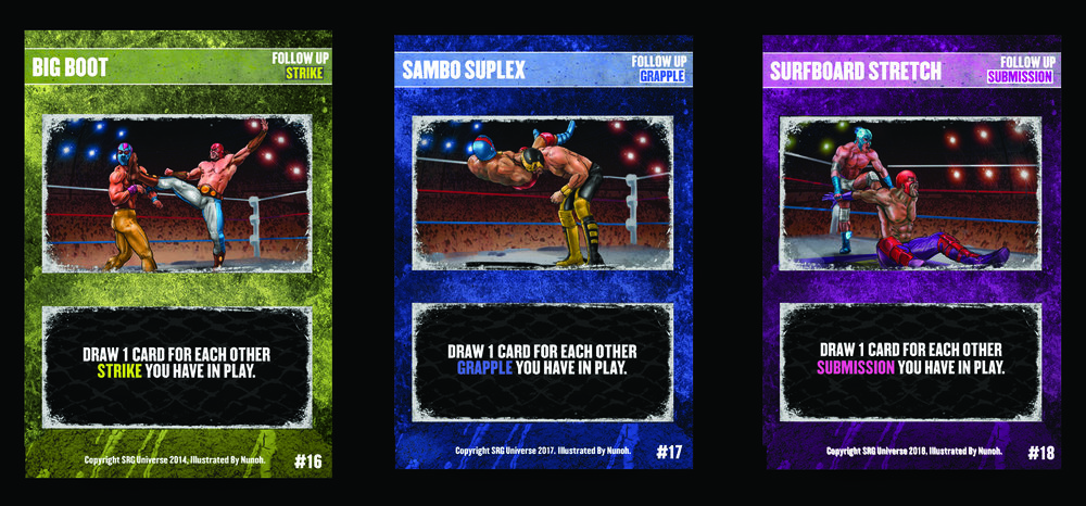 16- Big Boot, 17- Sambo Suplex 18- Surfboard Stretch. The above cards were each printed with Skill Requirements on error. This is the legal version of the card, you can ignore the Skill Requirement.