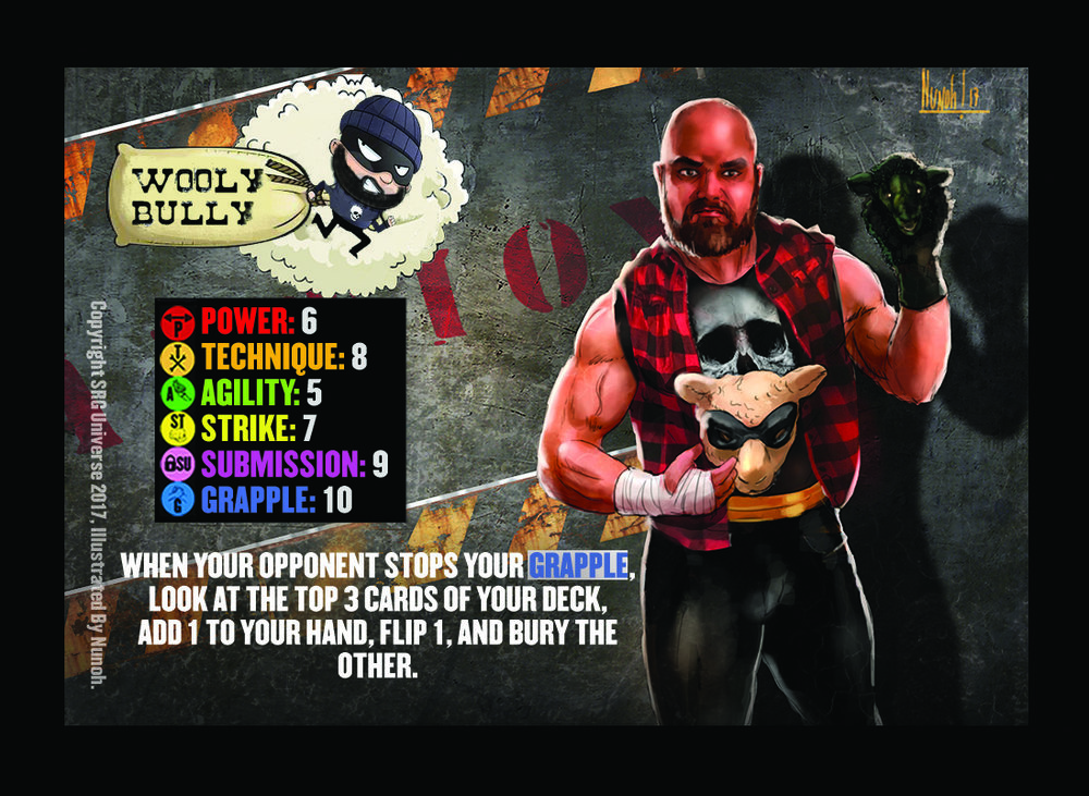"""00- Wooly Bully. There are versions of this card that were printed with two 10 Skills on error. The above version is the correct version with the correct card text (one version has """"or"""" rather than """"of"""". Furthermore Only Competitor with Skills 5, 6, 7, 8, 9, and 10 are legal for play, anything else is a misprint and will be added to this list."""
