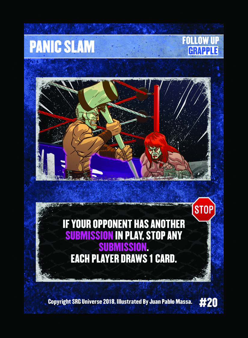 20- Panic Slam. This card was printed without a STOP sign. All versions of this card are considered to have a STOP sign.