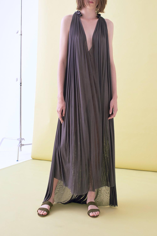 SILK MESH STEP FRONT DRESS