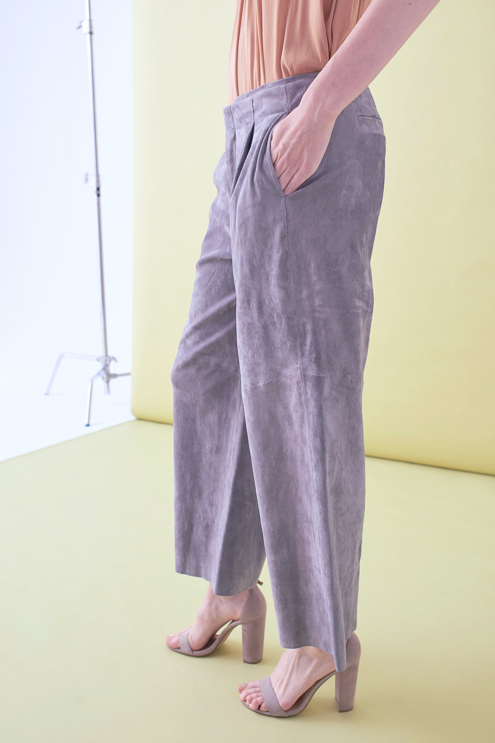 SUEDE CROPPED WIDE LEG TROUSER