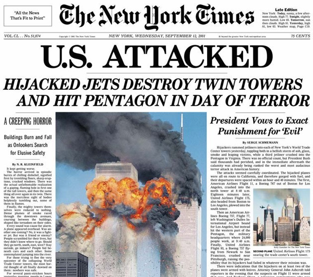 The New York Times, 9/11/01