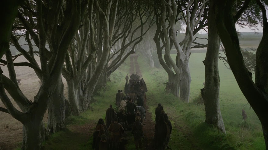 The Dark Hedges as seen on Season 2 Episode 1 of The Game of Thrones. Arya Stark has escaped from King's Landing, disguised as a boy. She is with Yoren, Gendry, Hot Pie and others who are to join the Night's Watch, in a cart, travelling north on the King's Road.