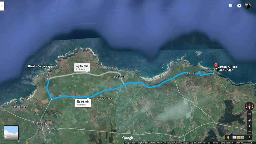 Giant's Causeway ->    Carrick -a- Rede  (Google Maps)