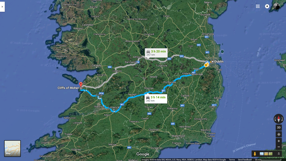 Dublin -> Cliffs of Moher  (Google Maps)