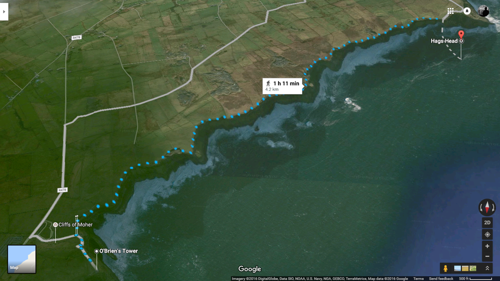 Bird's Eye view of the Cliffs of Moher (Google Maps)