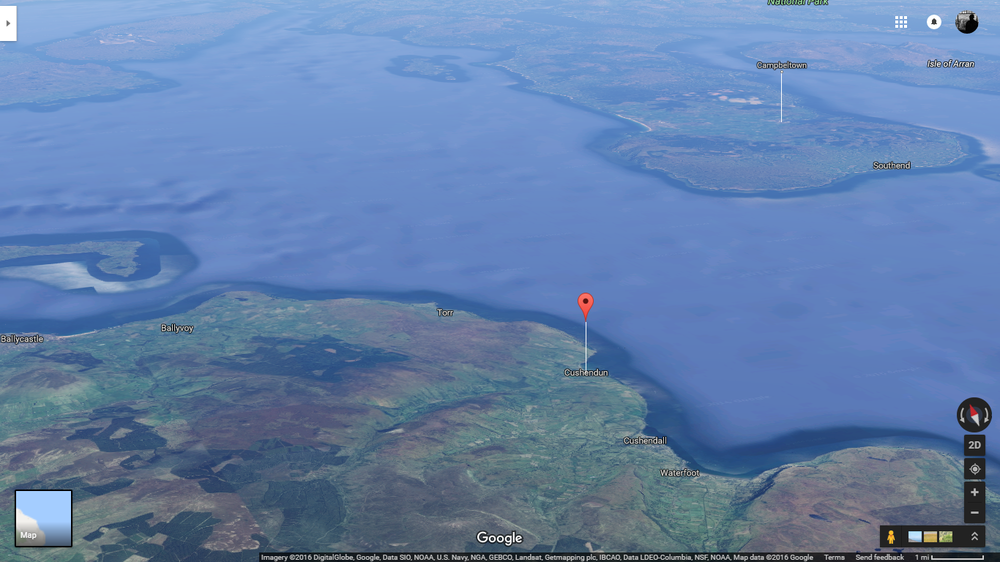 Cushendun is only about 15 miles from the coast of Scotland (Google Maps)